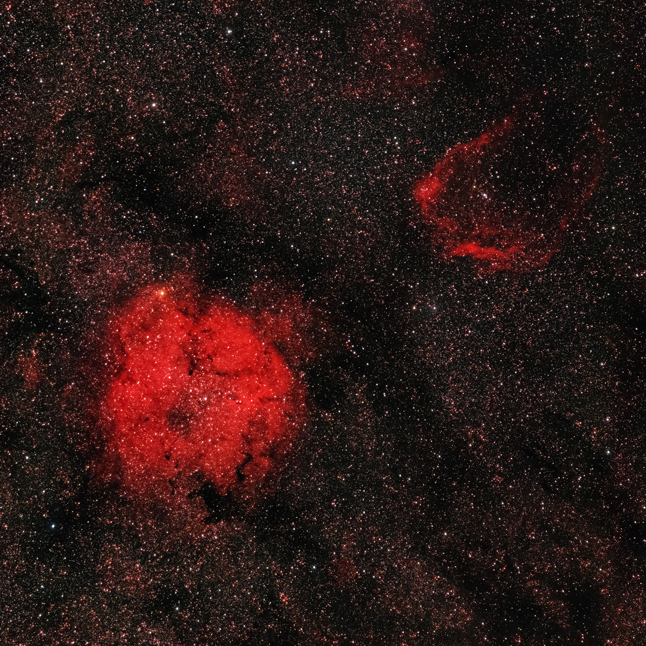 IC 1396 und Sharpless 129 in H-alpha RGB IC 1396, Sh2 129